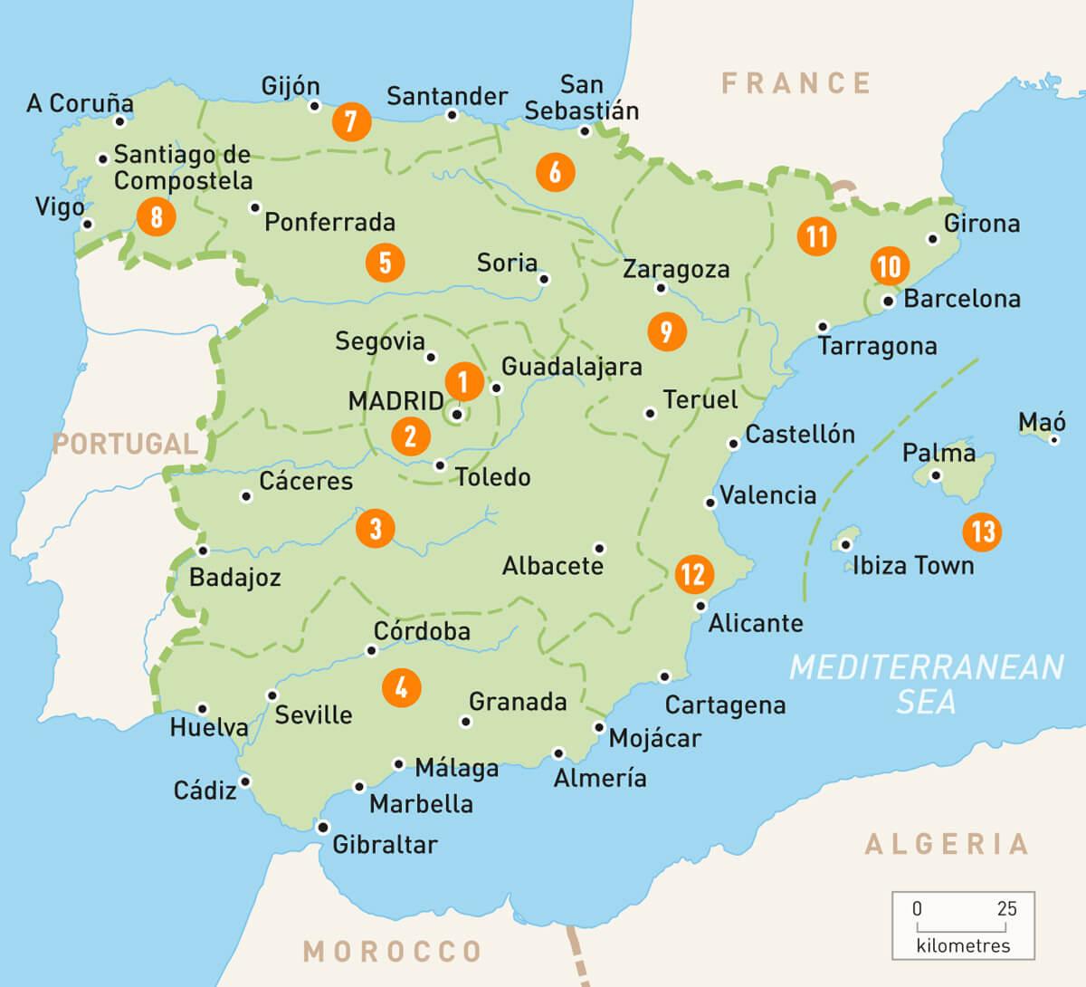 Harta Spaniei Rute Auto Harta Europei Com